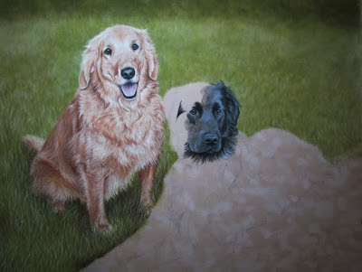 flat-coated retriever painting in progress