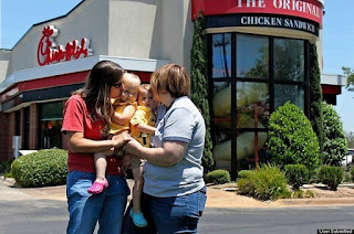 chick-fil-a gay kiss protest two baby girl
