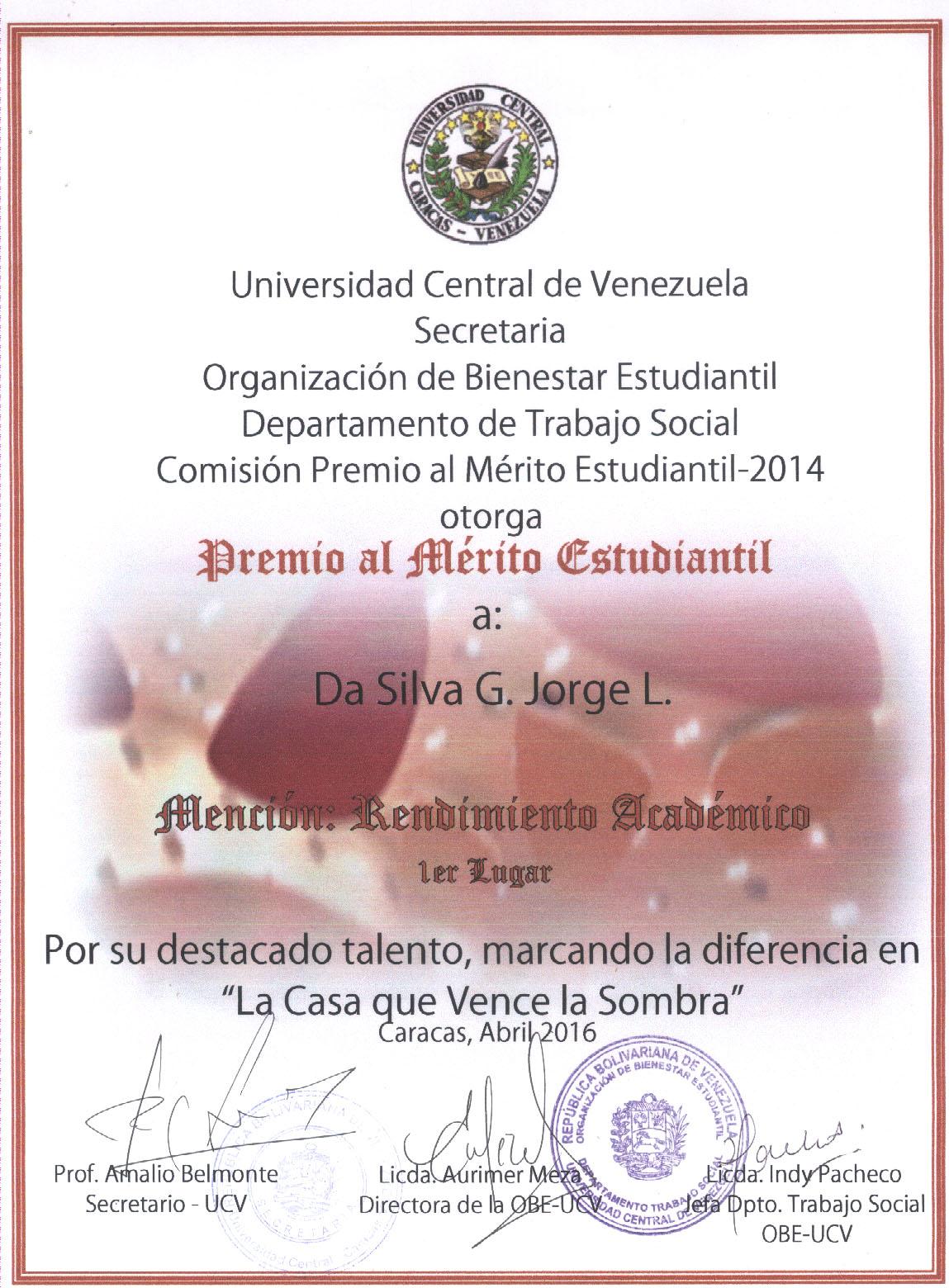Mérito Estudiantil 2014