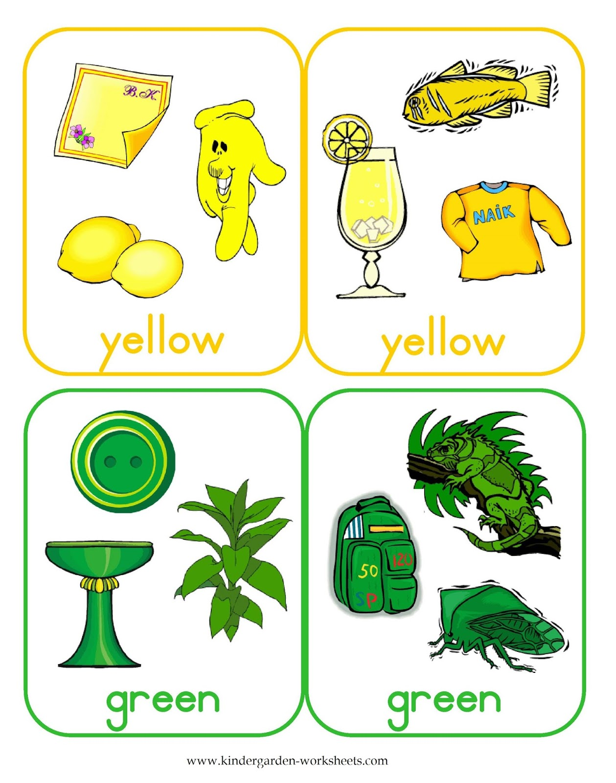 Kindergarten Worksheets: Flashcards - Color Cards