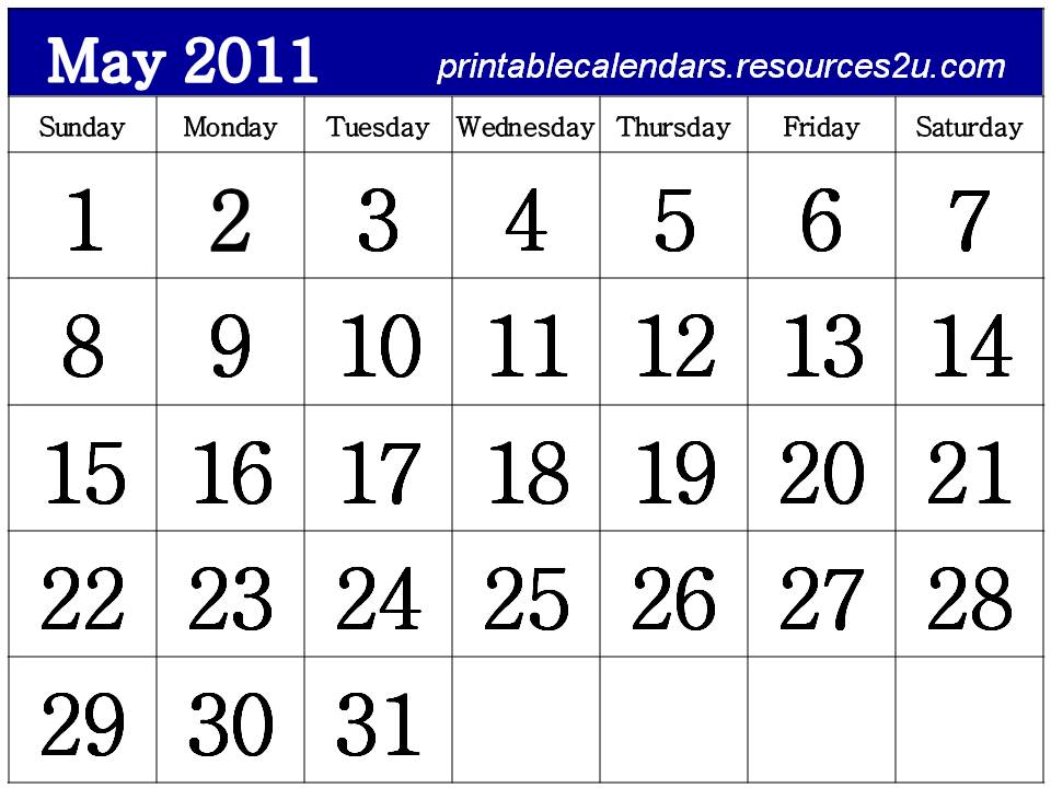 printable may calendar 2011. Free Calendar May 2011 design