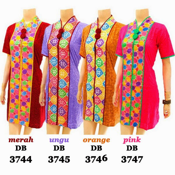 DB3744-3747 Model Baju Dress Batik Modern Terbaru 2014