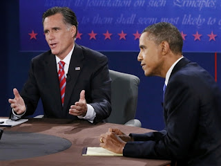 Mitt Romney and Barack Obama during their final presidential campaign debate