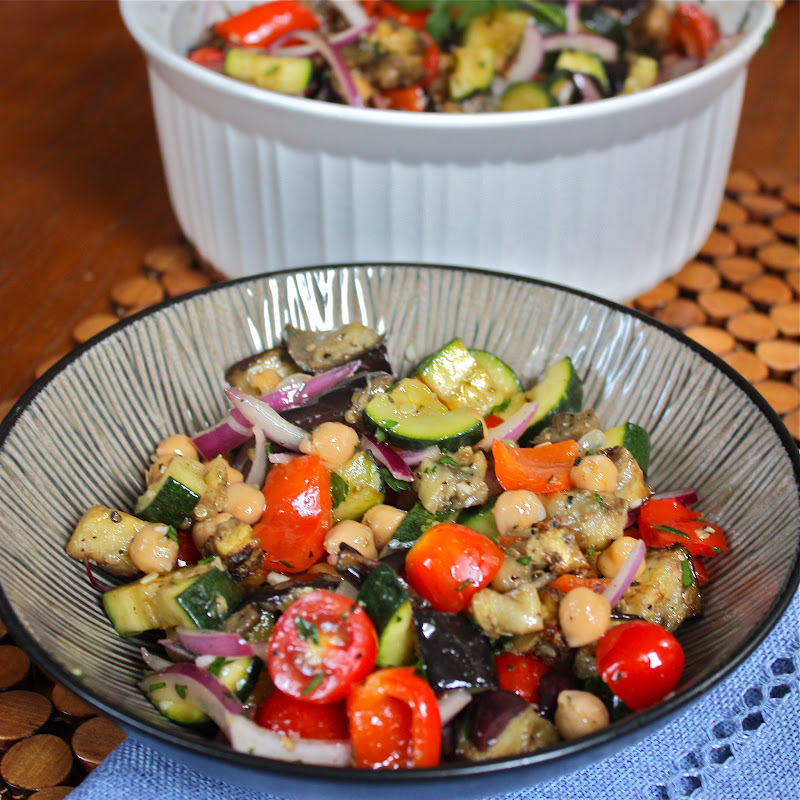 Mediterranean Roasted Eggplant and Vegetable Salad - Get Off Your Tush ...