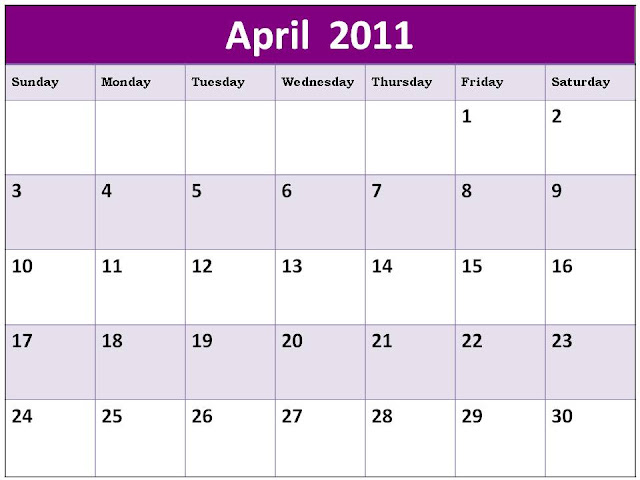 printable monthly calendar april 2011. APRIL 2011 CALENDAR PRINTABLE