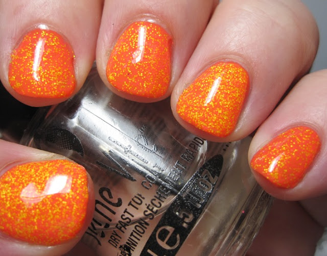 Orly Truly Tangerine with Salon Perfect Bang and Exploded, topcoated