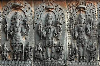 Brahma, Shiva, Vishnu, the trinity Halebid, Karnataka.