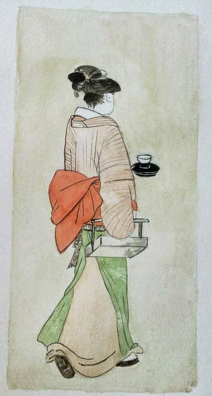 estampa japonesa de okita con tinta y acuarela