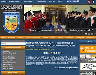 Resultados Ingresantes UNAMBA 2014, Examen Admisión Universidad Nacional Micaela Bastidas Apurímac 2014 II 31 de Agosto