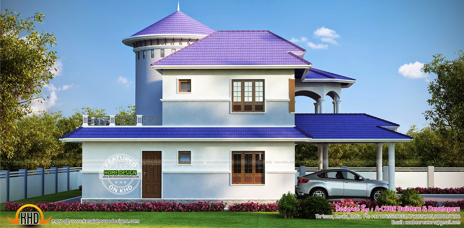 Luxury 5 bedroom house exterior kerala home design and for 5 bedroom luxury house plans