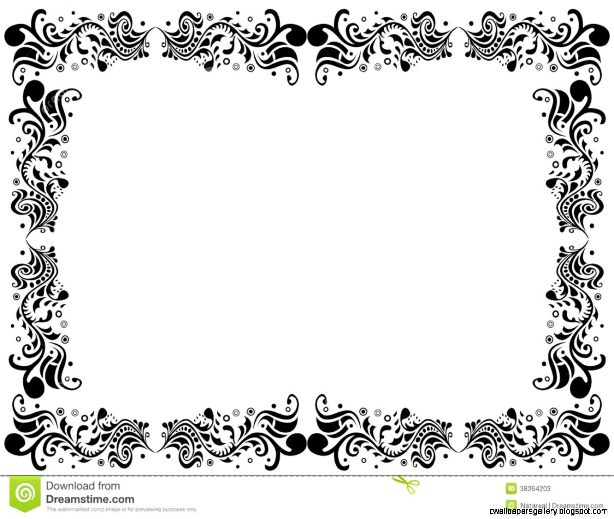 Black And White Blank Border With Fl Elements Stock Photos