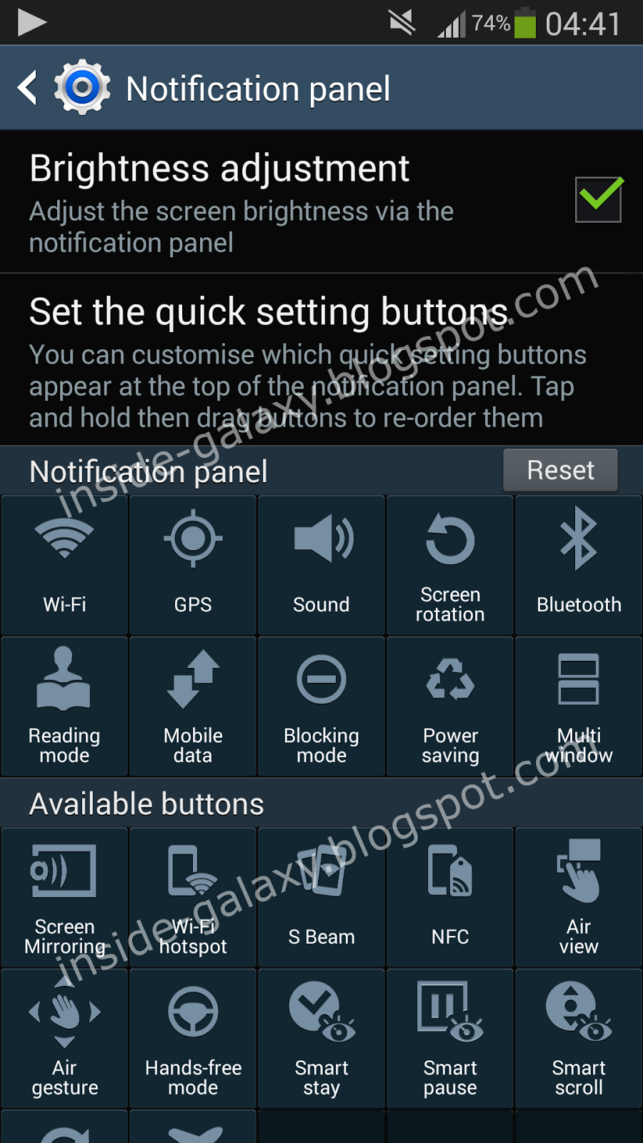 Samsung Galaxy S4 Notification Icons