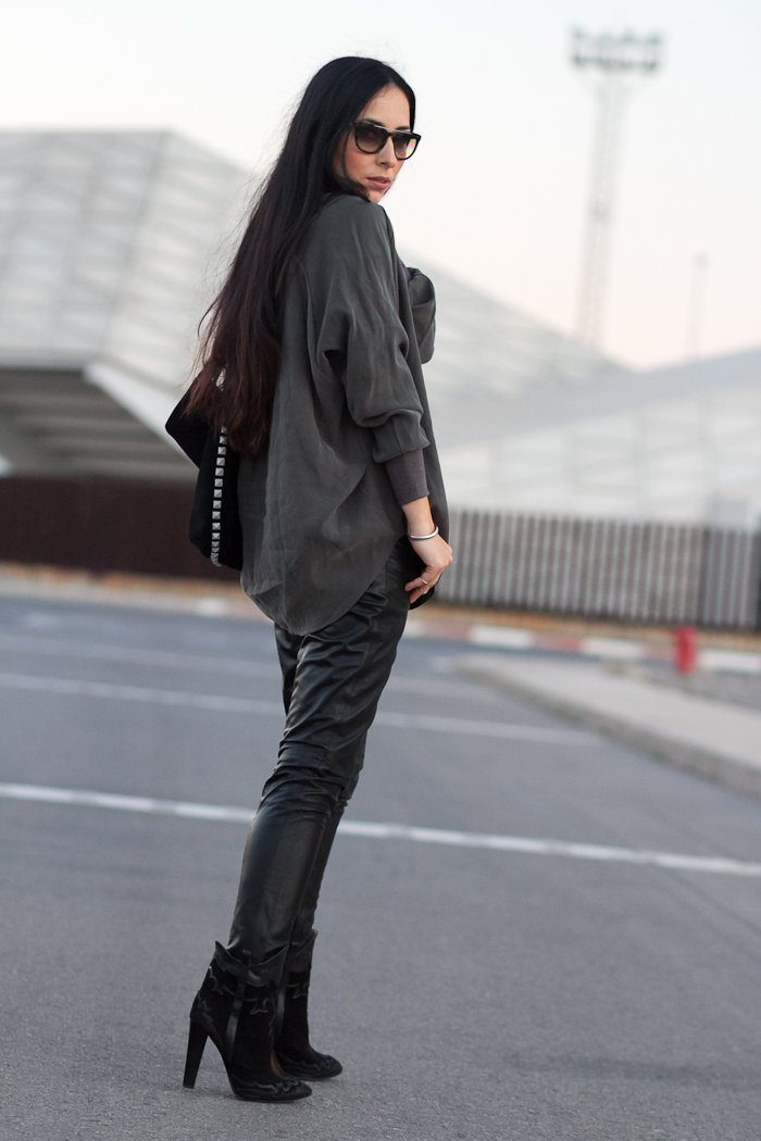 Muubaa Kirin Leather Trousers in black with army green shirt and cowboy ankle boots