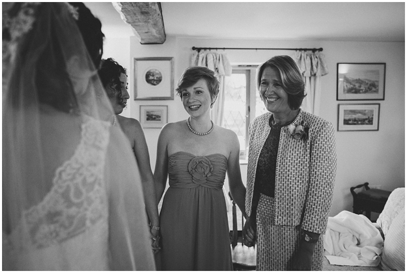 Mother of bride and bridesmaid emotion