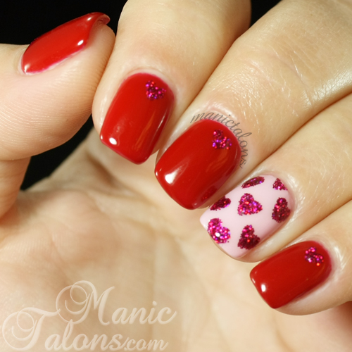 Glittery Hearts Valentines Nails
