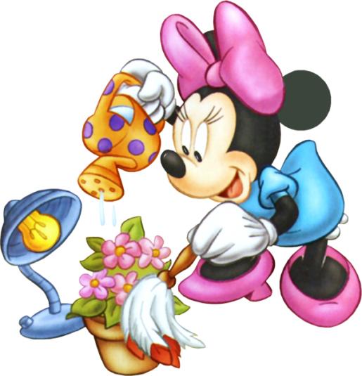 Minnie Mouse molhando as flores