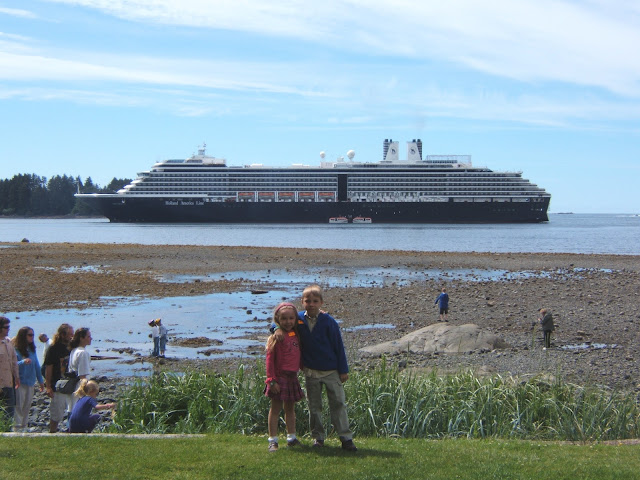 kids in front of the Oosterdam holland america ship