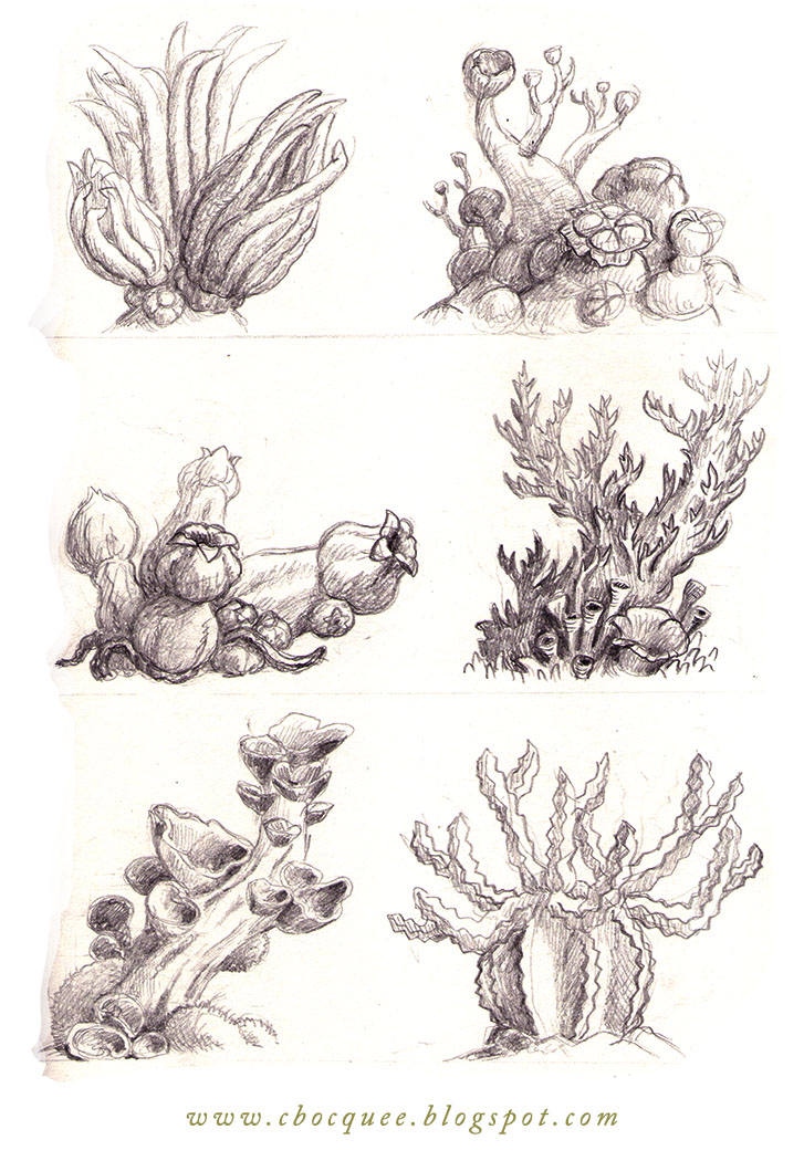 sketchbook drawings of strange imaginary trees and plants