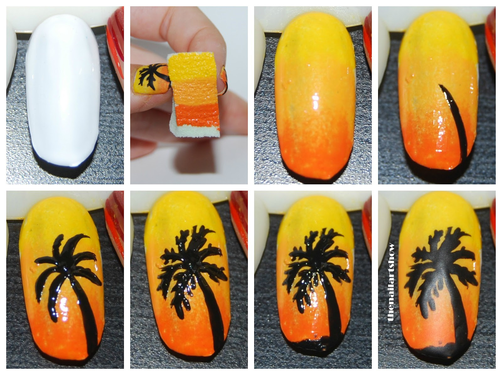 The Nail Art Show: Palm Trees At Sunset Tutorial