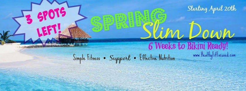 Spring Slim Down, lose weight, muffin top, support and accountability group, www.HealthyFitFocused.com