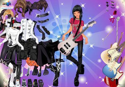 juego de vestir la muchacha rockera chica rockera