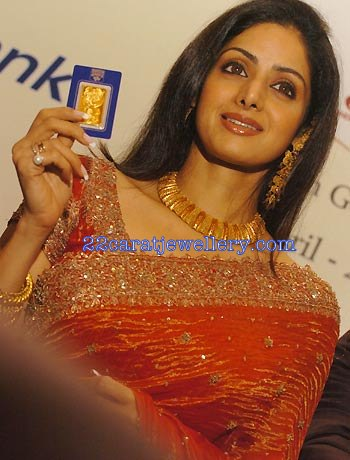 Bollywood Actress Sridevi In Gold Choker Necklace Set