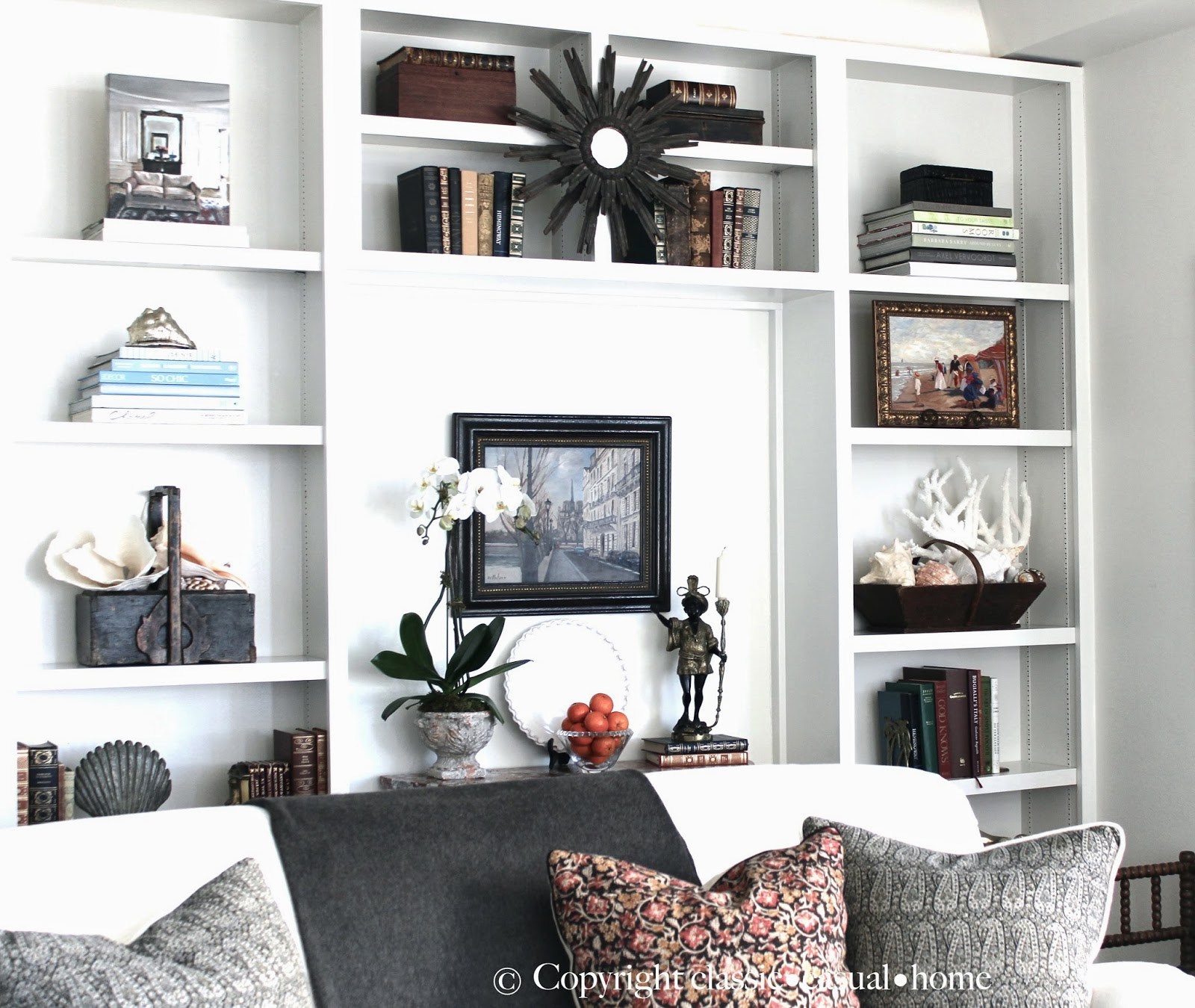 Our Living Room Shelves - Classic Casual Home