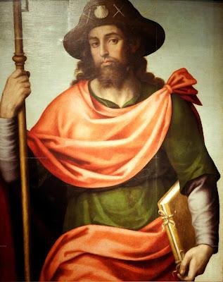 Imagen de Santiago apostol, peregrino con la vara y el libro cerrado.