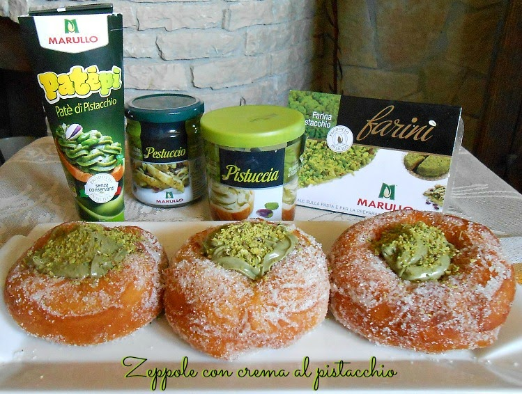 zeppole con crema al pistacchio