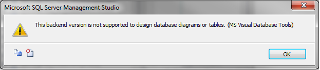 This backend version is not supported to design database diagrams or i opened sql server 2012 database in sql server 2008 r2 then i got the error ccuart Images