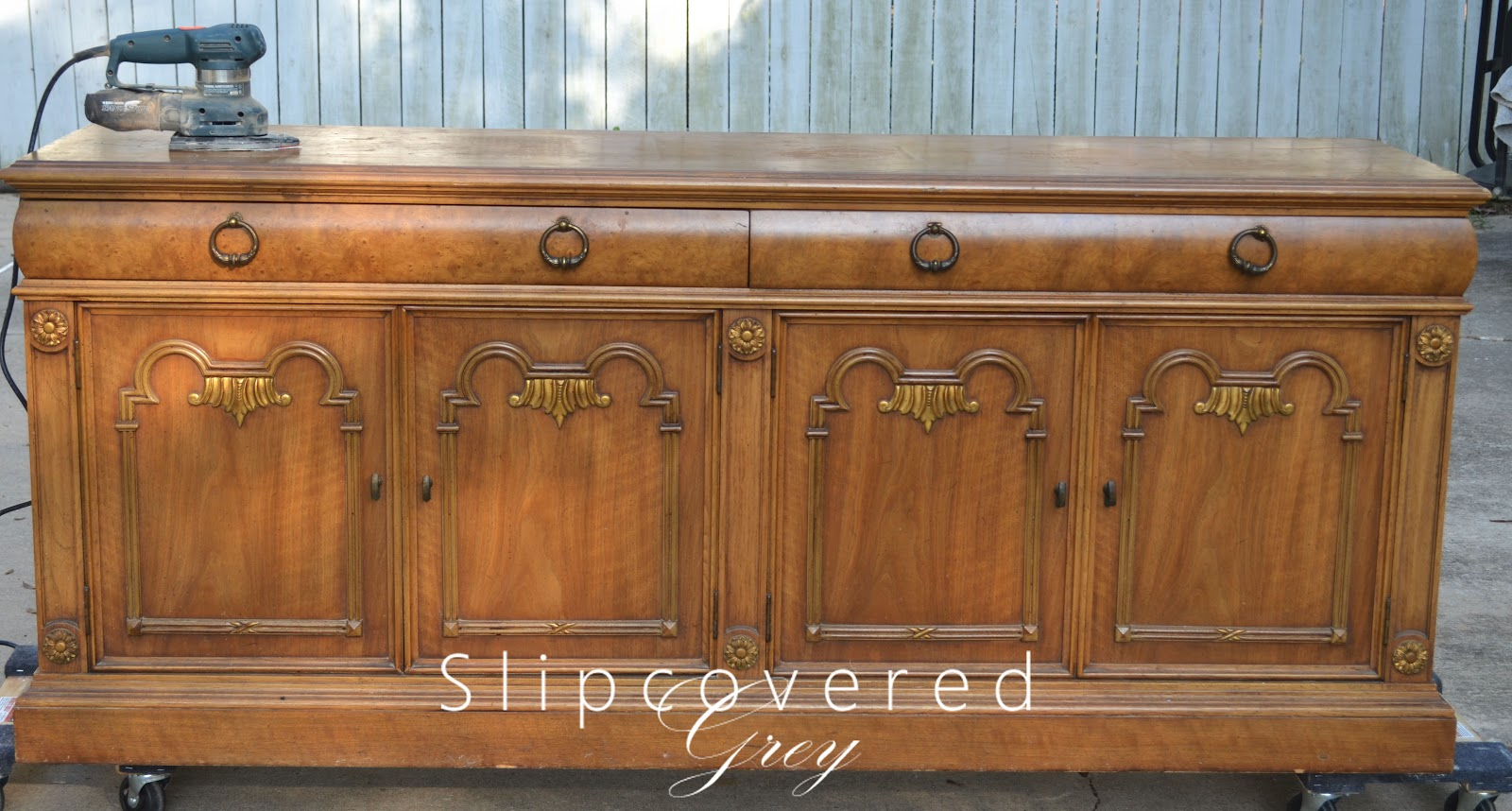 diy sideboard slipcovered grey. Black Bedroom Furniture Sets. Home Design Ideas