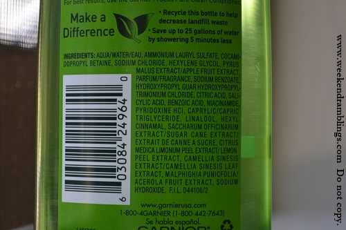 Garnier Fructis Pure Clean Fortifying Shampoo Reviews Ingredients