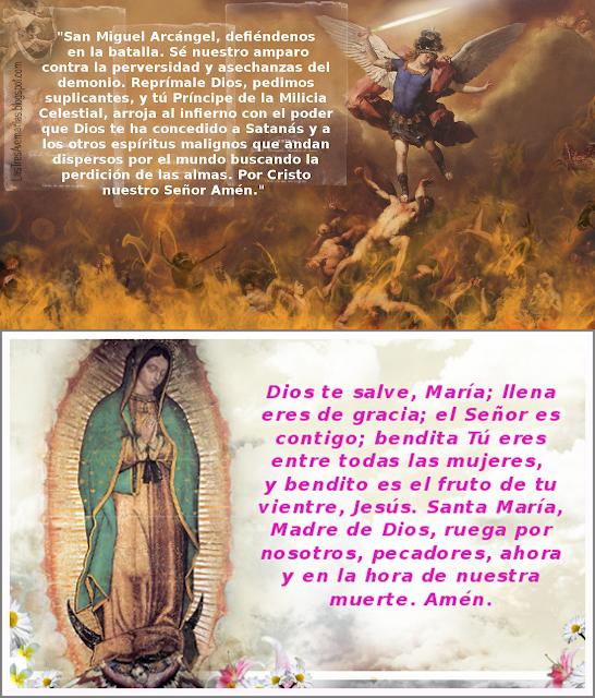 imagen con oracion a san miguel arcangel y la guadalupana