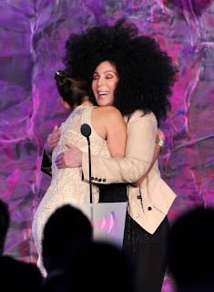 Cher hugs Mary Bono Mack at the GLAAD Awards