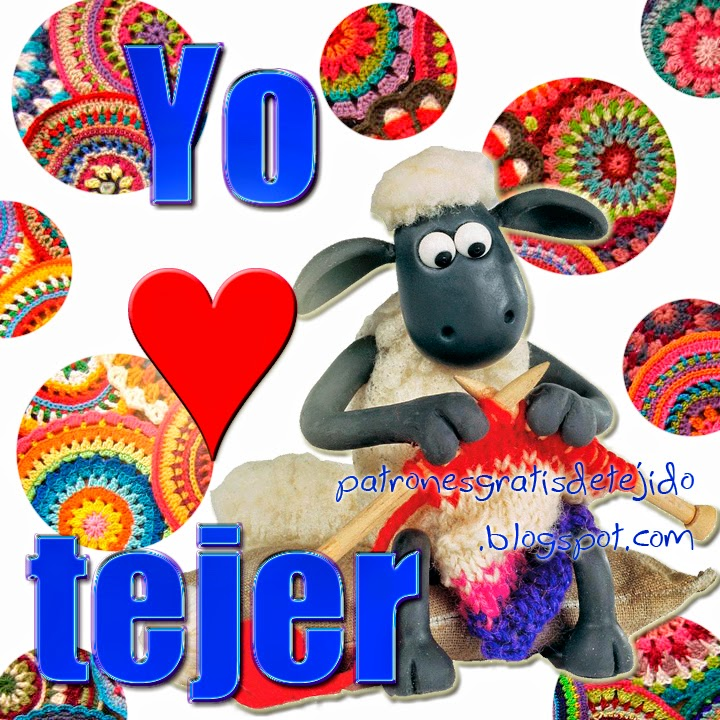 Tarjeta de YO AMO TEJER para todas las tejedoras apasionadas, para compartir y usar como foto de perfil en facebook