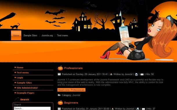 Free Vector Black Orange Halloween WordPress Theme
