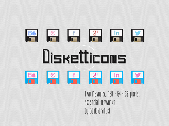 Freebie, Disketticons Social Icons by Pablo Lara H
