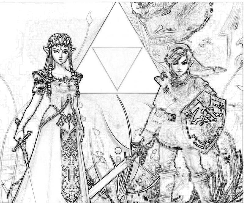 legend of zelda coloring pages online - the legend of zelda link and zelda yumiko fujiwara