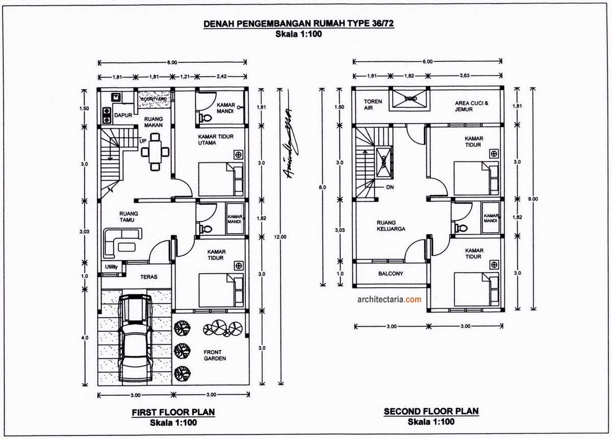 Denah Rumah 2 Lantai Minimalis Type 36