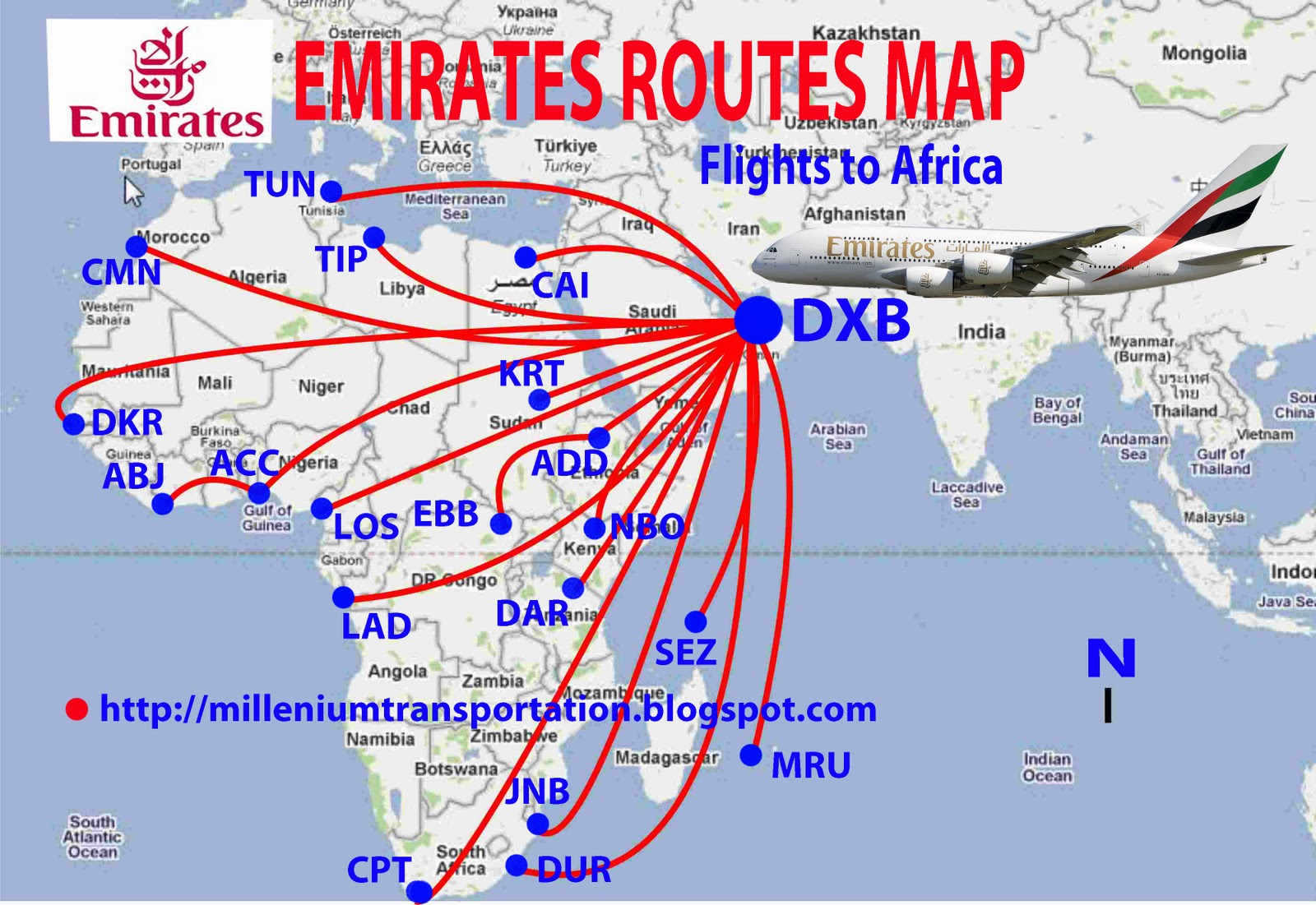 emirates routes map africa flights