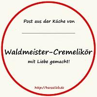 Flaschenetikett für selbstgemachten Waldmeister-Cremelikör