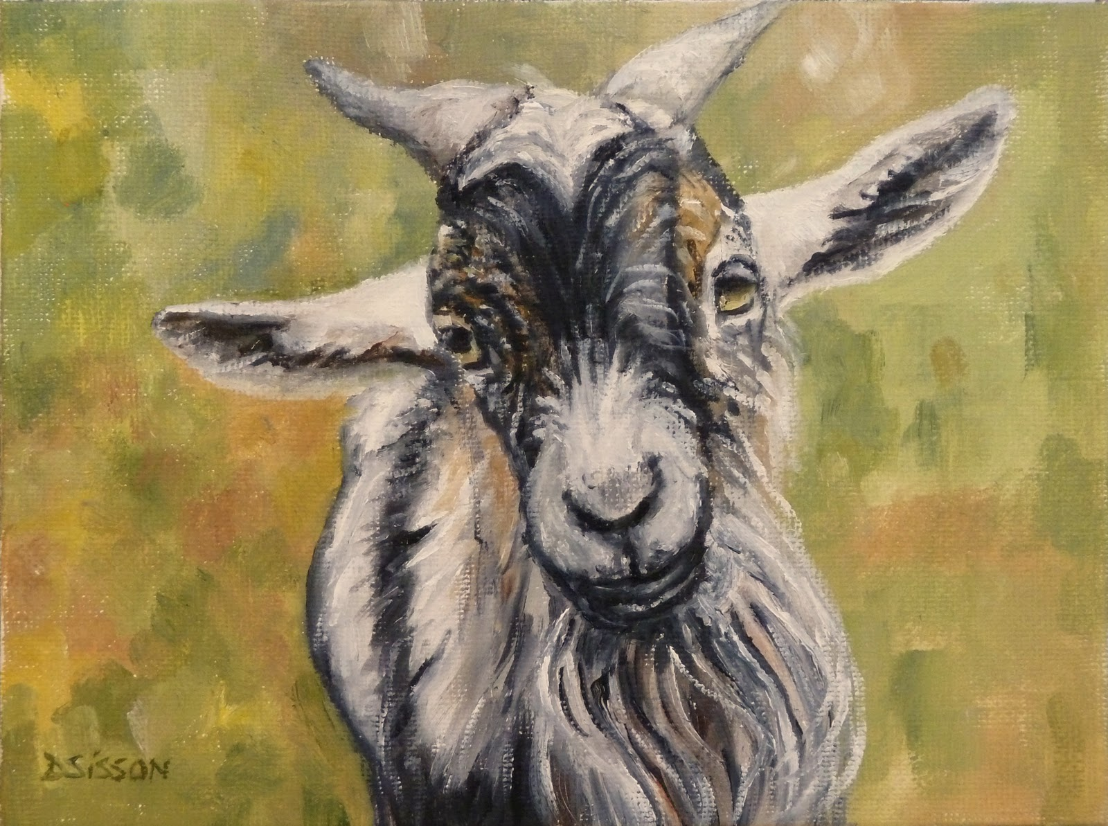 Daily painting projects billy goat oil painting art pet for Animal oil paintings