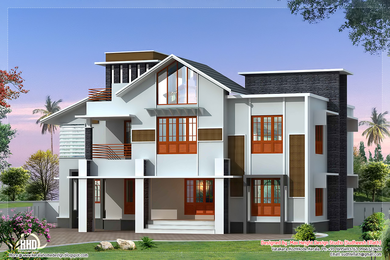 Beautiful 2500 sloping roof villa kerala home for Sloped roof house plans in india