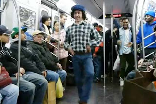 Comedian Tyler Fischer doing an Irish jig on an NYC subway