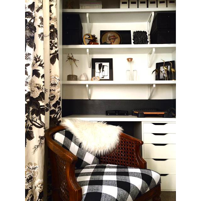 One Room Challenge Black and White Buffalo Check Chintz