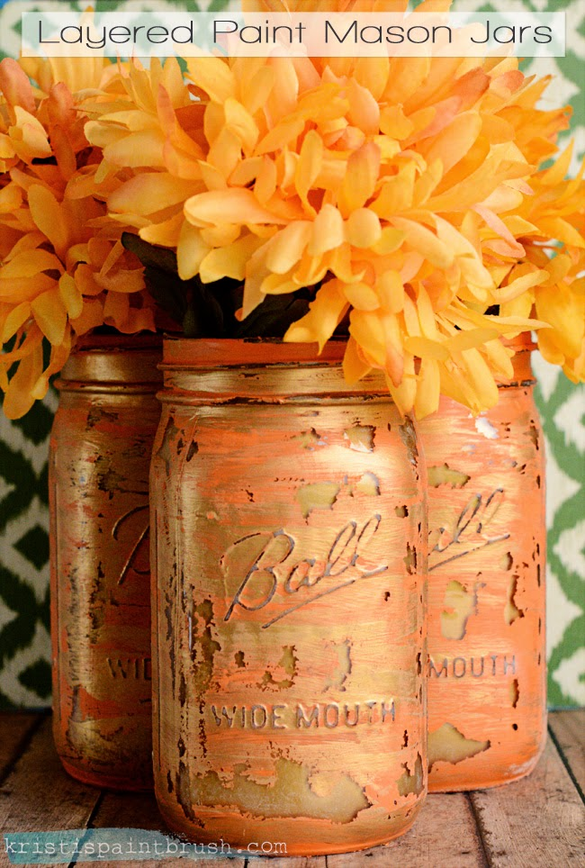 Layered Paint Mason Jars