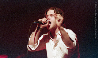 Musician Shannon Hoon singing intensely in 1995 shortly before his death