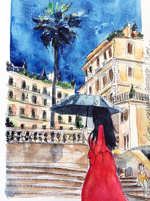 Carnet de voyage, Rome, jeune fille japonaise à l'ombrelle