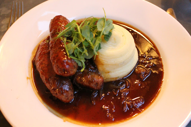 Sausages and mash at Kettners Brasserie, Soho, London - restaurant blogger
