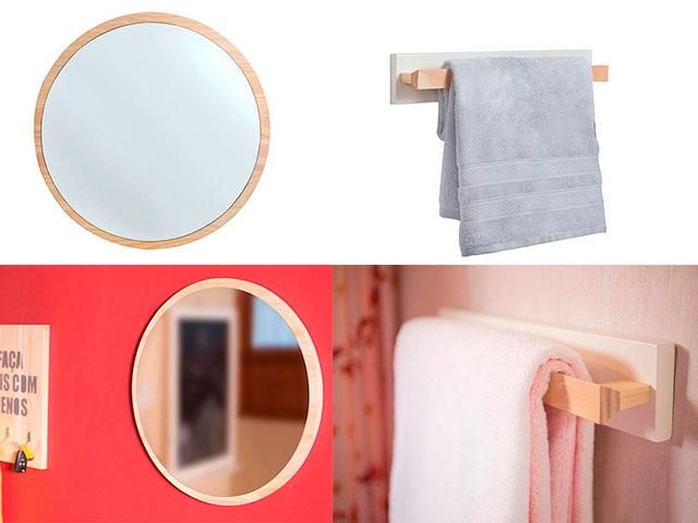 espelho e porta toalha